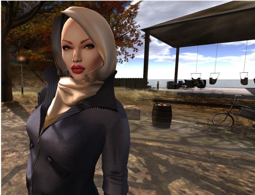 gizza leather jacket with scarf III jpg