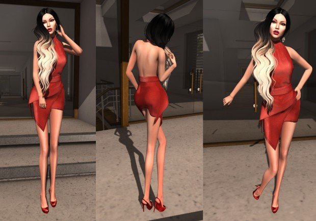 [VM] VERO MODERO Syl Skirt Set Red Leather III jpg